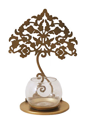 Kalpataru Antique Gold Handcrafted Iron Tabletop T-light Holder with Clear Glass (L - 6.8in, W - 5in, H - 9in)