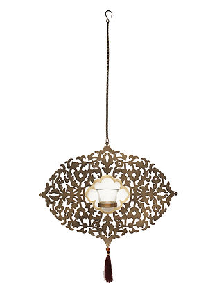 Arabesque Antique Gold Handcrafted Iron Hanging T-light Holder with Clear Glass (L - 15.3in, W - 2in, H - 11.2in)