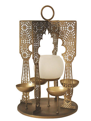 Latticework Antique Gold Handcrafted Iron Tabletop 5 T-lights Holder with White Frost Glass (L - 7in, W - 7in, H - 12in)