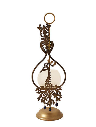 Mayura Antique Gold Handcrafted Iron Tabletop T-light Holder with Frost White Glass (L - 4.7in, W - 5.9in, H - 16.3in)