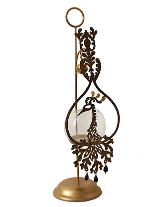 Mayura Antique Gold Handcrafted Iron Tabletop T-light Holder with Clear Glass (L - 4.7in, W - 5.9in, H - 16.3in)