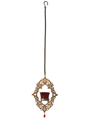 Rococo Antique Gold Handcrafted Iron Hanging T-light Holder with Red Glass (L - 6.4in, W - 1.9in, H - 8.8in)
