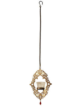 Rococo Antique Gold Handcrafted Iron Hanging T-light Holder with Clear Glass (L - 6.4in, W - 1.9in, H - 8.8in)