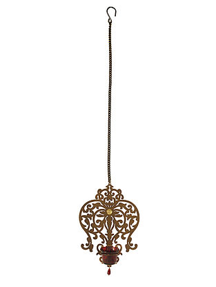 Rococo Antique Gold Handcrafted Iron Hanging T-light Holder with Red Glass (L - 8in, W - 2.4in, H - 11in)