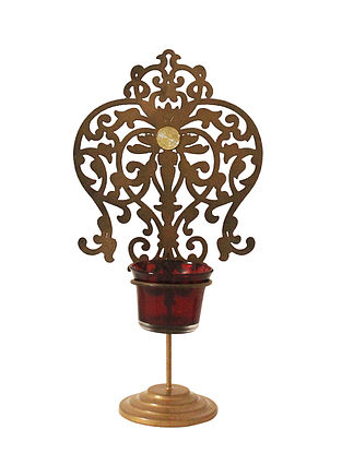 Rococo Antique Gold Handcrafted Iron Tabletop T-light Holder with Red Glass (L - 5.9in, W - 3.9in, H - 10.8in)