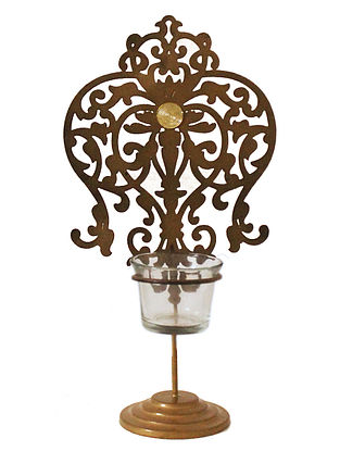 Rococo Antique Gold Handcrafted Iron Tabletop T-light Holder with Clear Glass (L - 5.9in, W - 3.9in, H - 10.8in)