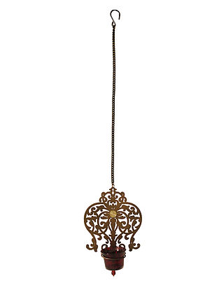 Rococo Antique Gold Handcrafted Iron Hanging T-light Holder with Red Glass (L - 5.9in, W - 2.6in, H - 8in)
