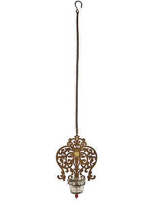 Rococo Antique Gold Handcrafted Iron Hanging T-light Holder with Clear Glass (L - 5.9in, W - 2.6in, H - 8in)
