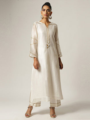 Ivory Hand Embroidered Silk Chanderi Kurta with Zari and Pearl Detailings