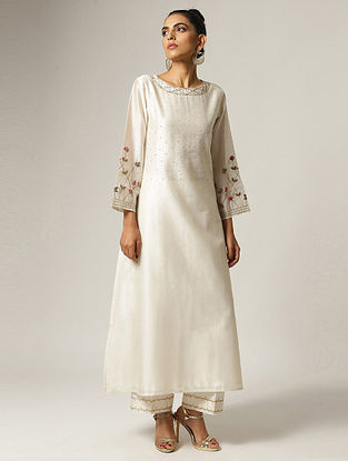 Ivory Hand Embroidered Silk Chanderi Kurta with Dabka Work