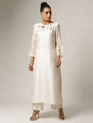 Ivory Hand Embroidered Silk Chanderi Kurta with Sequins and Pearl Detailings