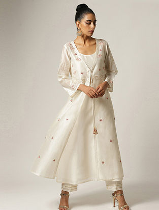 Ivory Hand Embroidered Silk Chanderi Jacket with Dabka Work and Kurta (Set of 2)