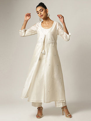 Ivory Hand Embroidered Sequined Silk Chanderi Jacket with Kurta (Set of 2)