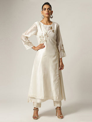 Ivory Hand Embroidered Silk Chanderi Angrakha Kurta with Sequins and French Knots