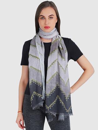Grey Cashmere Modal Silk Wool Scarf