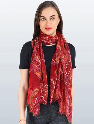Red Silk Wool Scarf