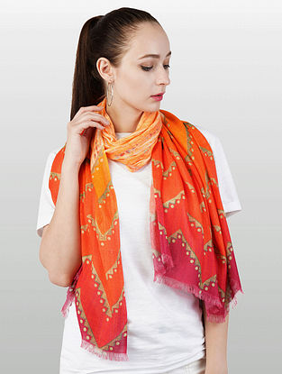 Orange Cashmere Modal Silk Wool Scarf