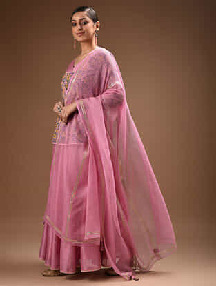 Pink Gota Trimmed Kota Doria Dupatta with Tassel Details