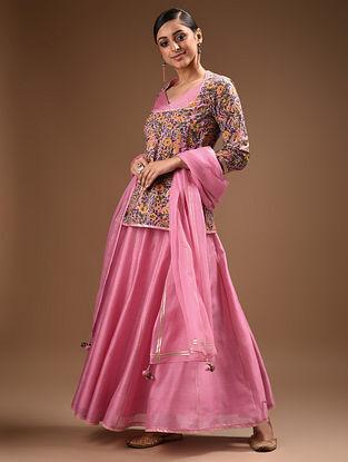 Pink Pintucks Hand Block Printed Cotton Choli with Gota Trims