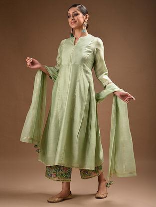 Green Pintucks Chanderi Kurta with Gota Trims and Voile Slip (Set of 2)