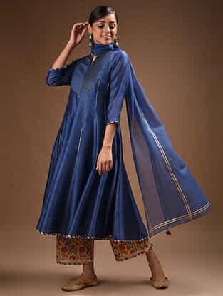 Blue Pintucks Chanderi Kurta with Gota Trims and Voile Slip (Set of 2)