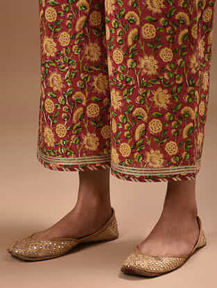 Red Hand Block Printed Cotton Pants with Gota Trims
