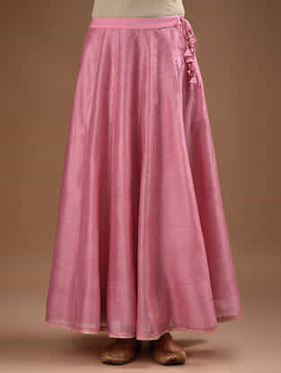 Pink Gota Trimmed Chanderi Skirt with Voile Lining