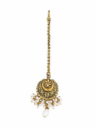 Gold Plated Sterling Silver Maangtika with Pearls