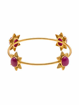Red Gold Plated Sterling Silver Bangle (Size: 2/4)