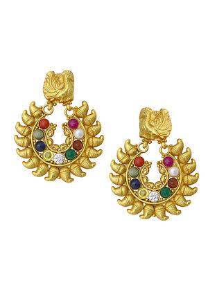 Navratna Gold Plated Sterling Silver Earrings