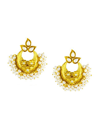 Gold Plated Sterling Silver Earrings with Pearls