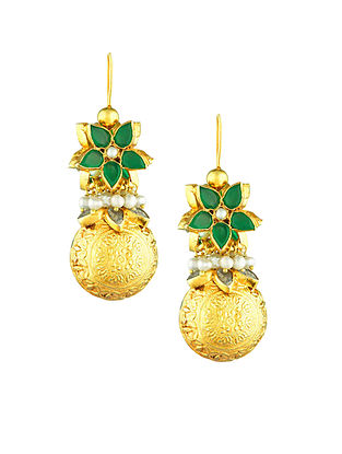 Green Gold Plated Sterling Silver Earrings with Pearls