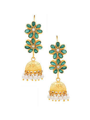 Green Onyx Gold Plated Sterling Silver Jhumki Earrings with Pearls