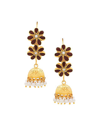 Red Onyx Gold Plated Sterling Silver Jhumki Earrings with Pearls