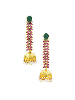 Red Green Onyx Gold Plated Sterling Silver Jhumki Earrings with Pearls