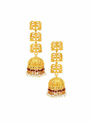 Red Gold Plated Sterling Silver Jhumki Earrings with Pearls