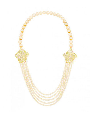 Gold Plated Sterling Silver Necklace with Pearls