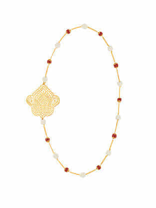 Red Gold Plated Sterling Silver Necklace with Pearls