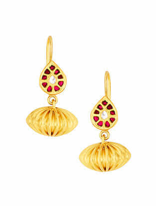 Red Glass Gold Plated Sterling Silver Earrings
