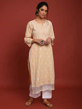 Beige Hand Embroidered Chikankari Cotton Kurta with Palazzos (Set of 2)