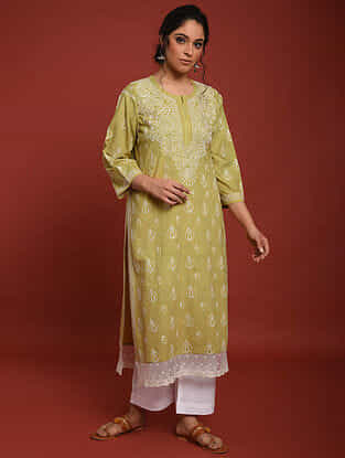 Brown Hand Embroidered Chikankari Cotton Kurta