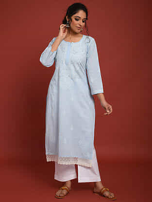 Blue Hand Embroidered Chikankari Cotton Kurta