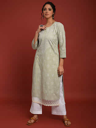 Green Hand Embroidered Chikankari Cotton Kurta