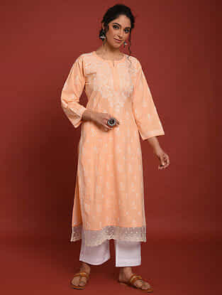 Peach Hand Embroidered Chikankari Cotton Kurta