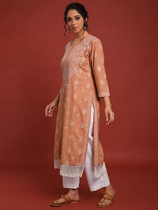 Rust Orange Hand Embroidered Chikankari Cotton Kurta
