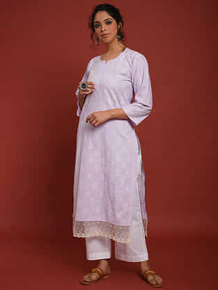 Purple White Hand Embroidered Chikankari Cotton Kurta with Palazzos (Set of 2)