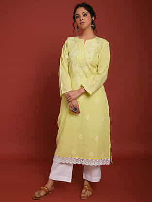 Yellow White Hand Embroidered Chikankari Cotton Kurta with Palazzos (Set of 2)