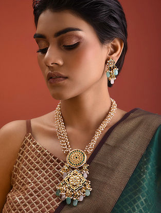 Pink Green Kundan Pearl Beaded Necklace With Earrings