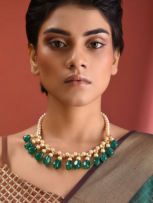Green White Kundan Beaded Necklace With Pearls