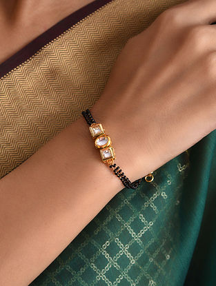 Black Gold Tone Kundan Bracelet